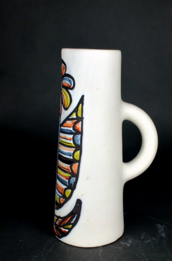 Ceramic Pitcher With Flower By Roger Capron 1