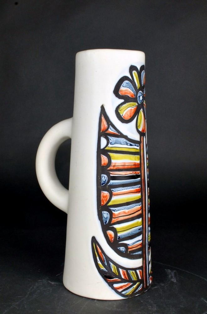 Ceramic Pitcher With Flower By Roger Capron 4