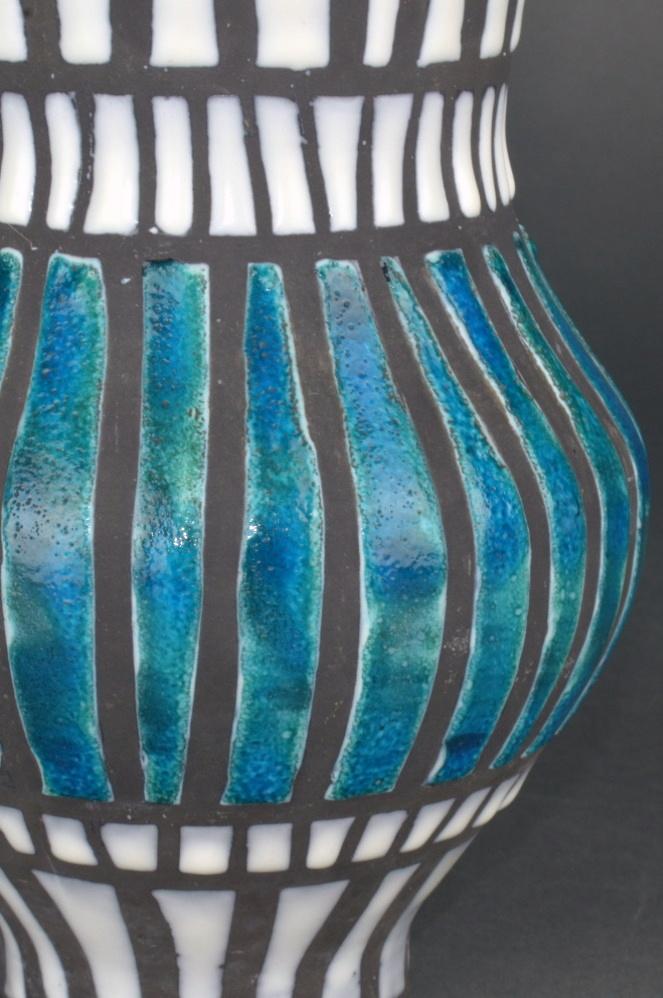 Ceramic Vase With Blue Stripes By Roger Capron 43