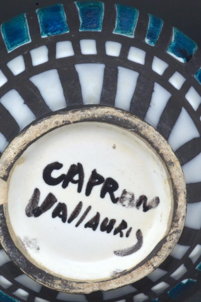 Ceramic Vase With Blue Stripes By Roger Capron 45