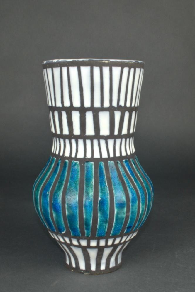 Ceramic Vase With Blue Stripes By Roger Capron 6