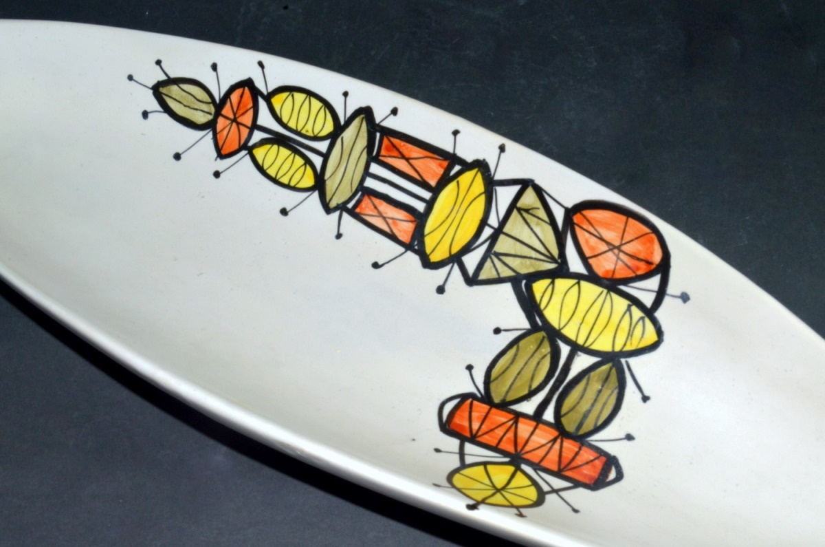 Large Ceramic Canoe Bowl With Abstract Motive By Roger Capron 210