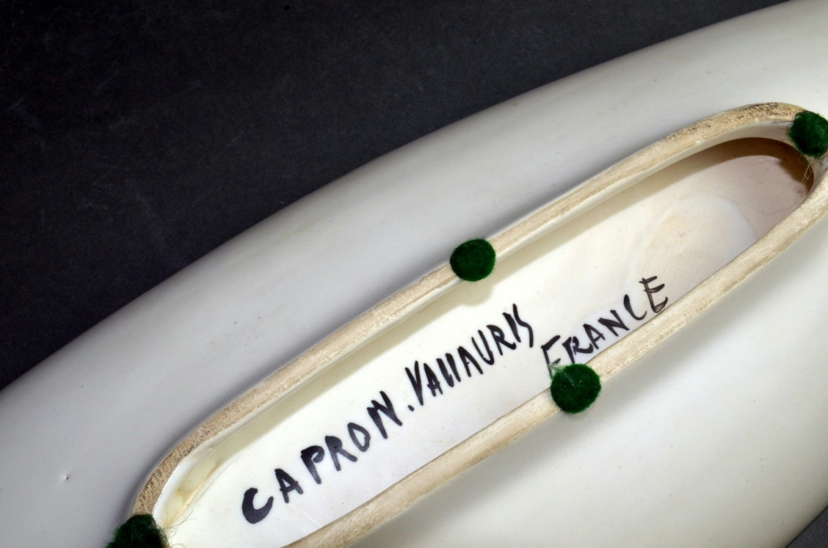 Large Ceramic Canoe Bowl With Abstract Motive By Roger Capron 211