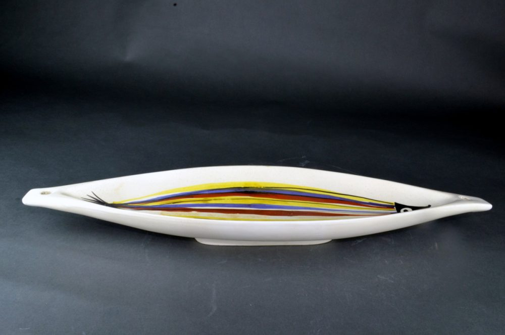 Large Ceramic Canoe Bowl With Fish By Roger Capron 211