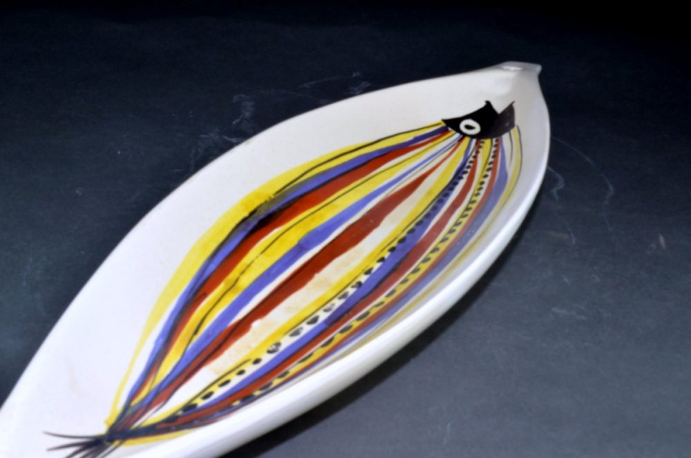 Large Ceramic Canoe Bowl With Fish By Roger Capron 212