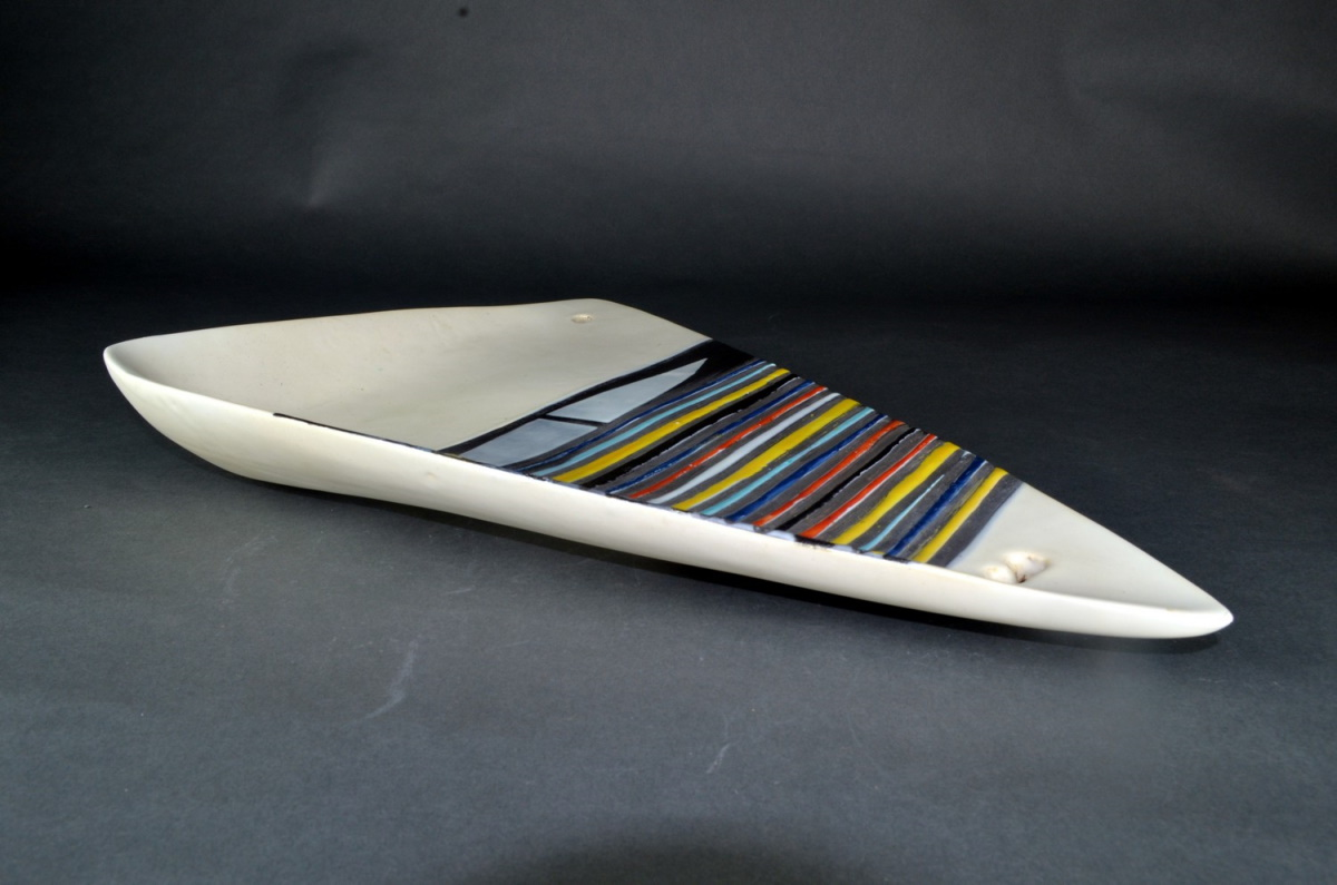 Large Decorative Ceramic Dish With Stripes By Roger Capron 21