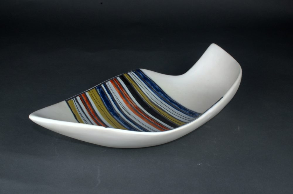 Large Decorative Ceramic Dish With Stripes By Roger Capron 214