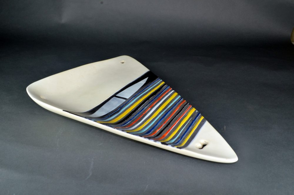 Large Decorative Ceramic Dish With Stripes By Roger Capron 22