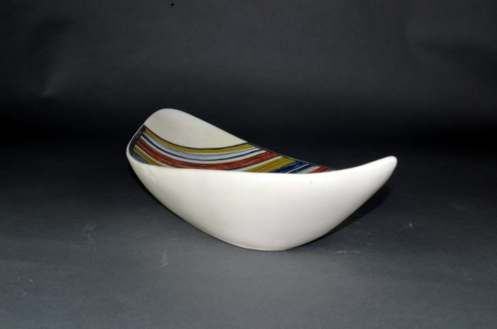 Large Decorative Ceramic Dish With Stripes By Roger Capron 23