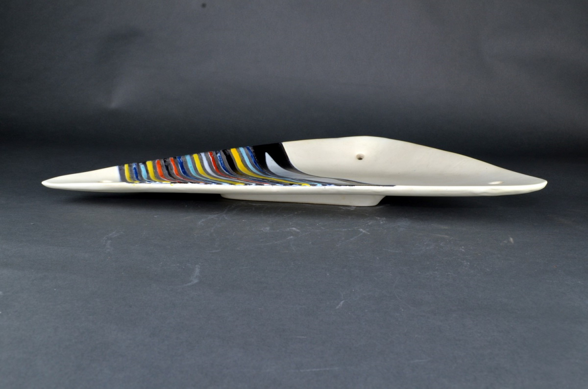 Large Decorative Ceramic Dish With Stripes By Roger Capron 25