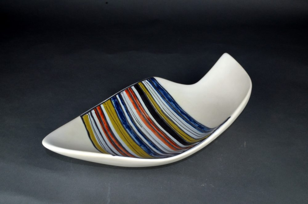 Large Decorative Ceramic Dish With Stripes By Roger Capron 27