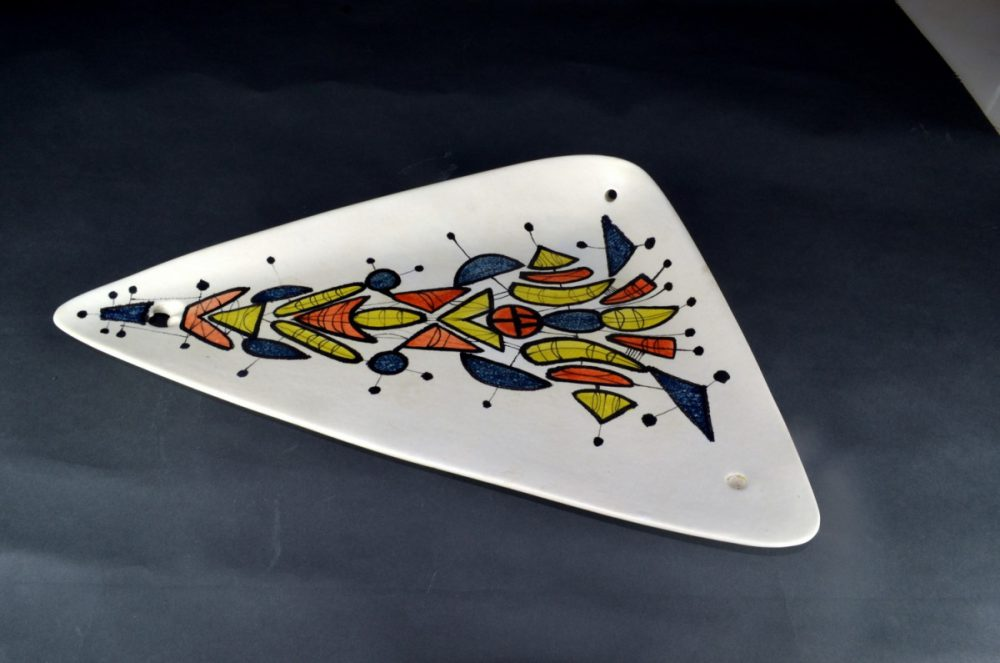 Large Triangular Ceramic Dish With Geometric Motives By Roger Capron 21