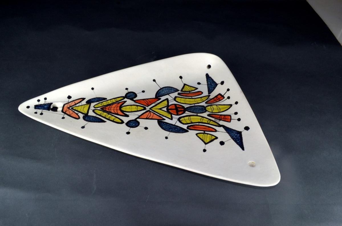 Large Triangular Ceramic Dish With Geometric Motives By Roger Capron 21