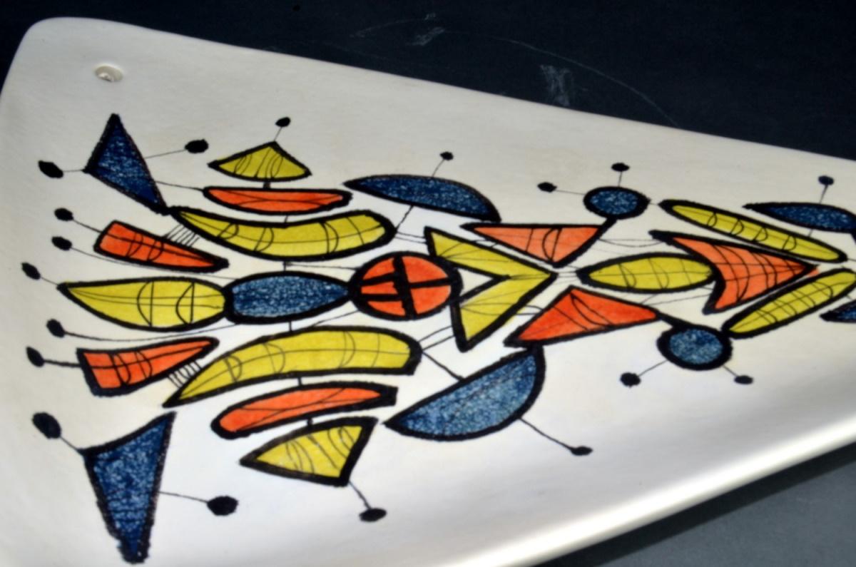 Large Triangular Ceramic Dish With Geometric Motives By Roger Capron 210