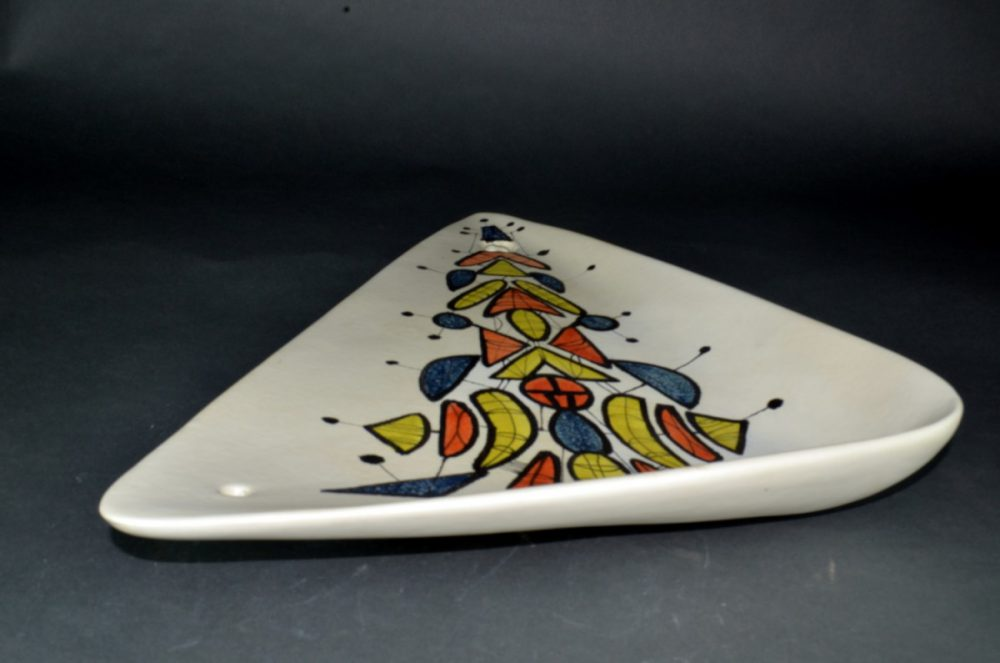 Large Triangular Ceramic Dish With Geometric Motives By Roger Capron 26