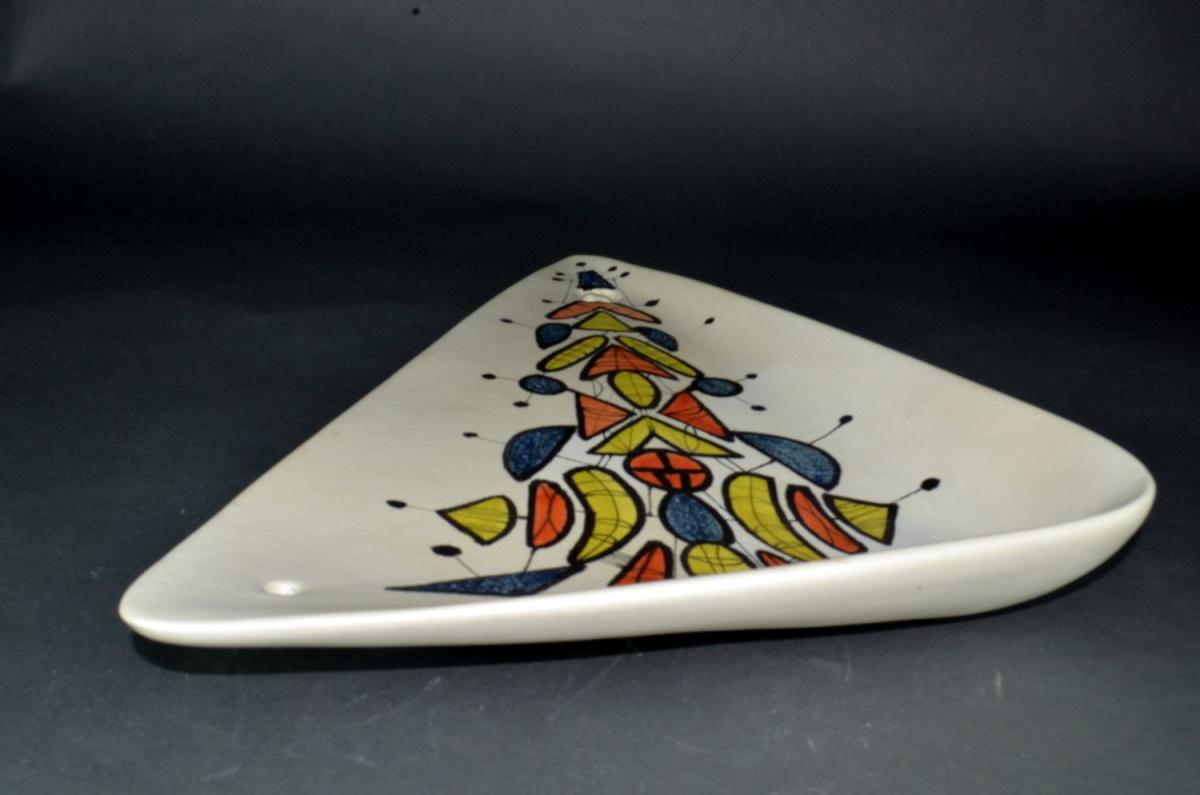 Large Triangular Ceramic Dish With Geometric Motives By Roger Capron 26