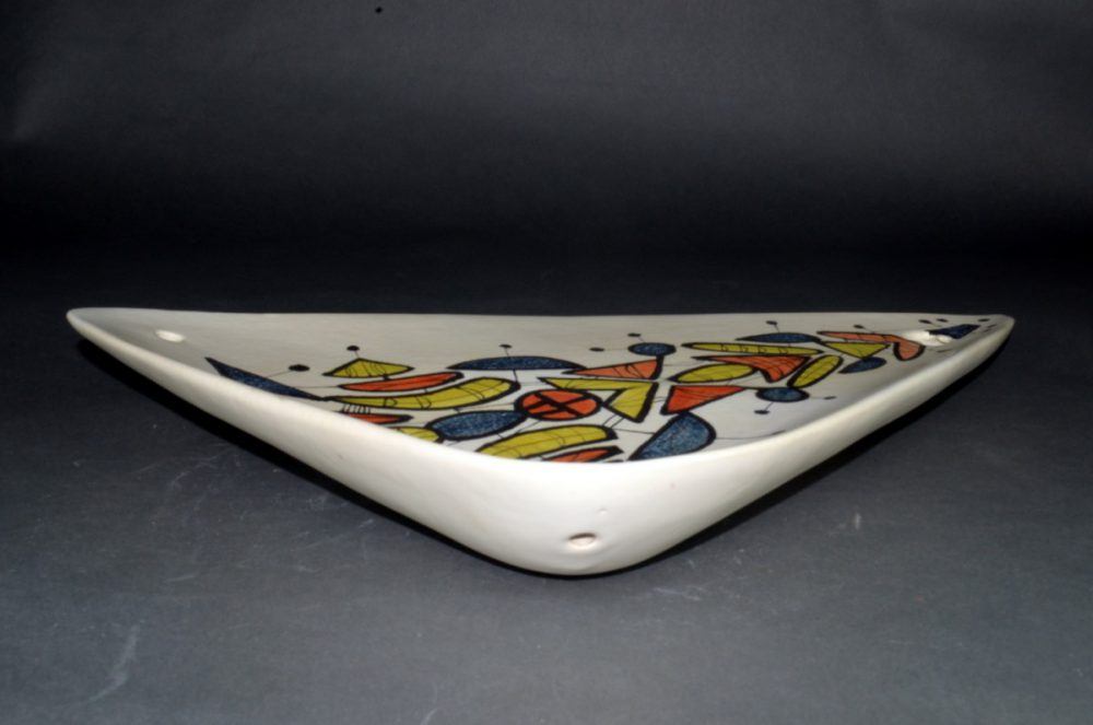 Large Triangular Ceramic Dish With Geometric Motives By Roger Capron 28