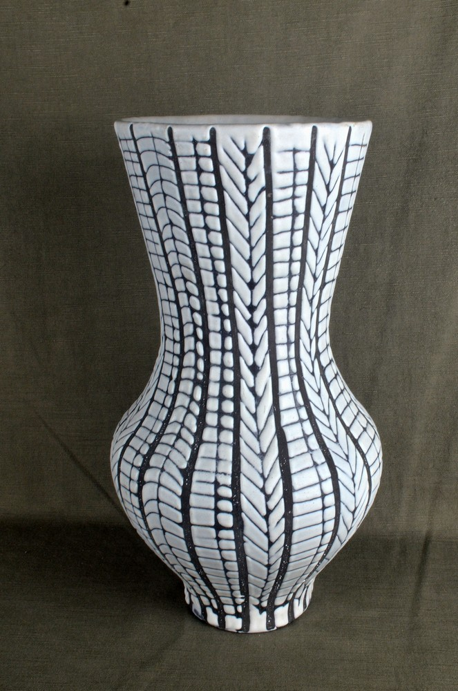 Rare Black And White Ceramic Vase By Roger Capron Topview