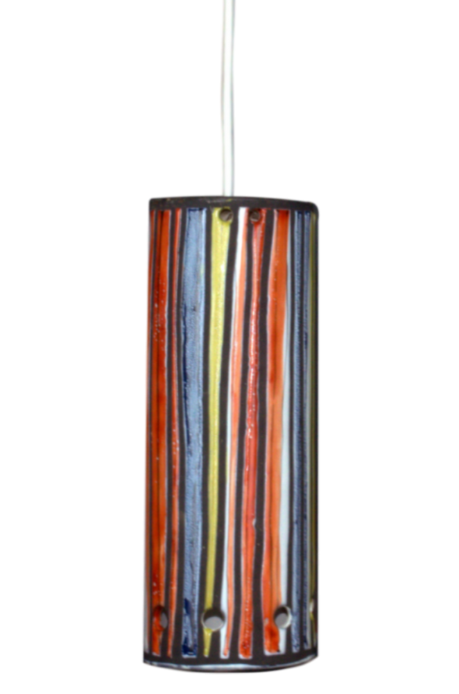 Roger Capron Ceramic Ceiling Lamp With Stripes