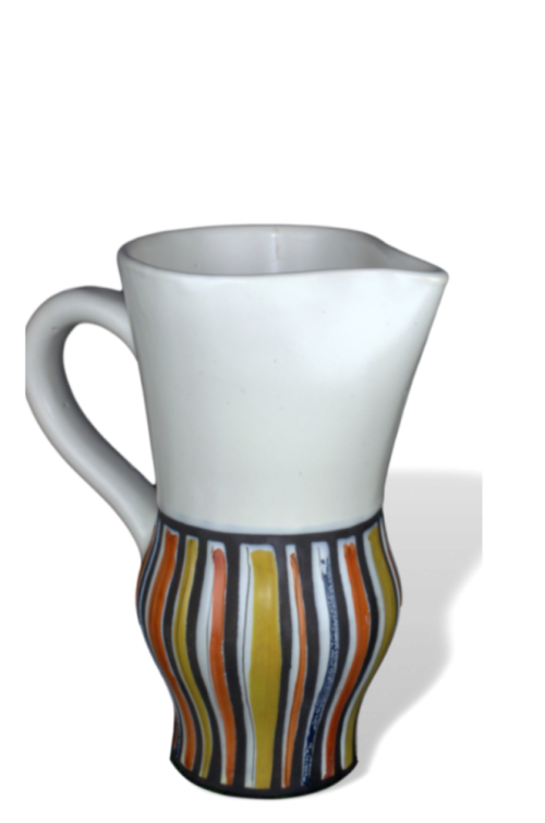 Roger Capron Ceramic Pitcher With Decor Rayures
