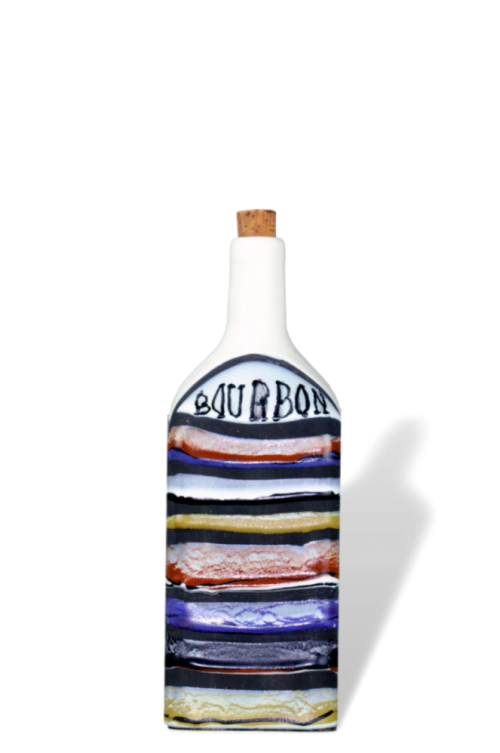 Roger Capron Decorative Ceramic Bottle With Decor Rayures Bourbon