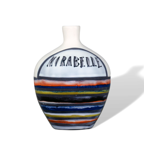 Roger Capron Decorative Ceramic Bottle With Decor Rayures 'mirabelle'