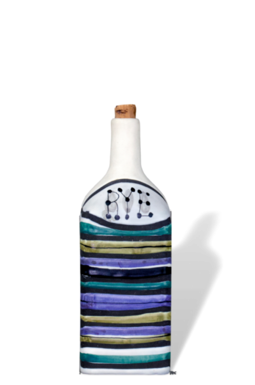 Roger Capron Decorative Ceramic Bottle With Decor Rayures Rye 2