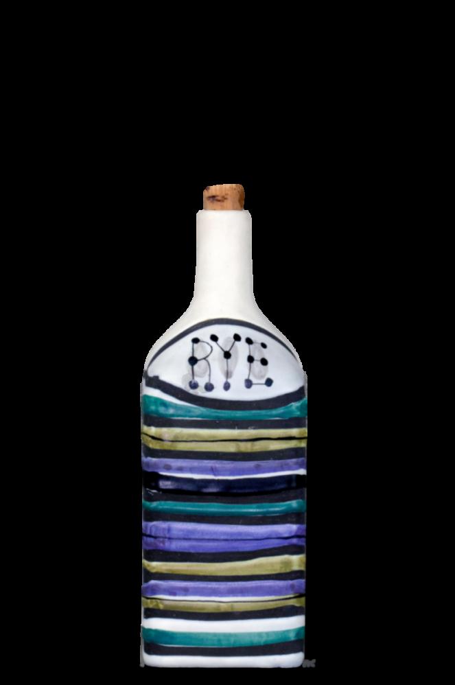 Roger Capron Decorative Ceramic Bottle With Decor Rayures Rye 2