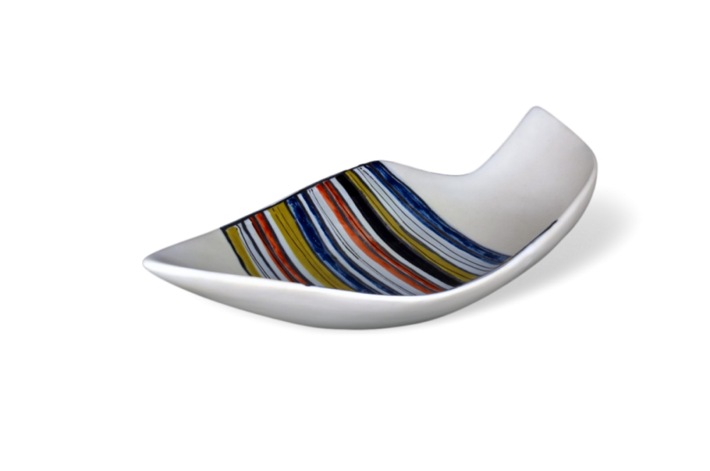 Roger Capron Large Decorative Ceramic Dish With Stripes