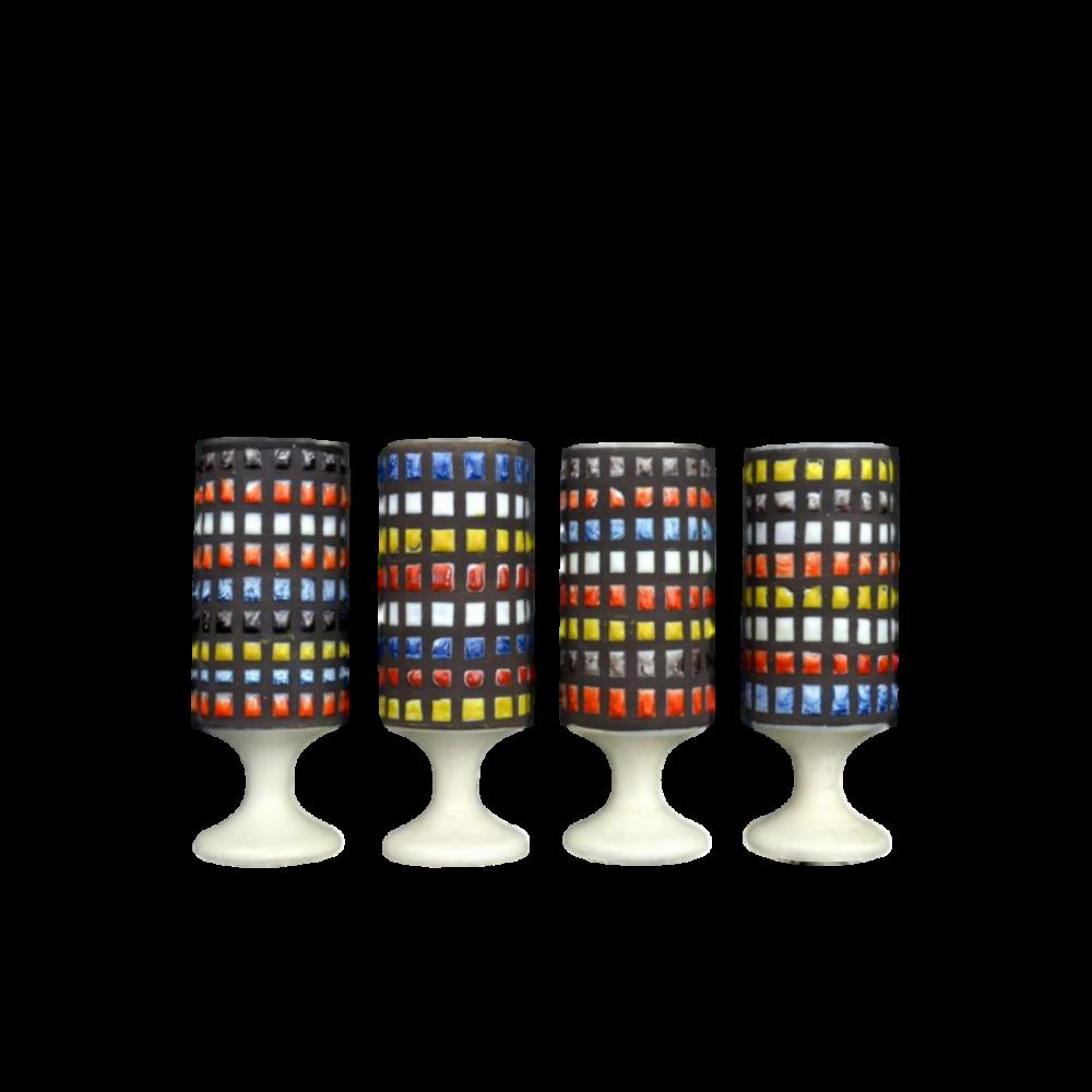 Roger Capron Set Of 4 Ceramic Mugs With Cobblestone