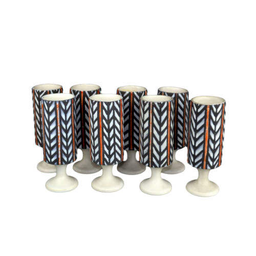 Roger Capron Set Of 8 Ceramic Mugs