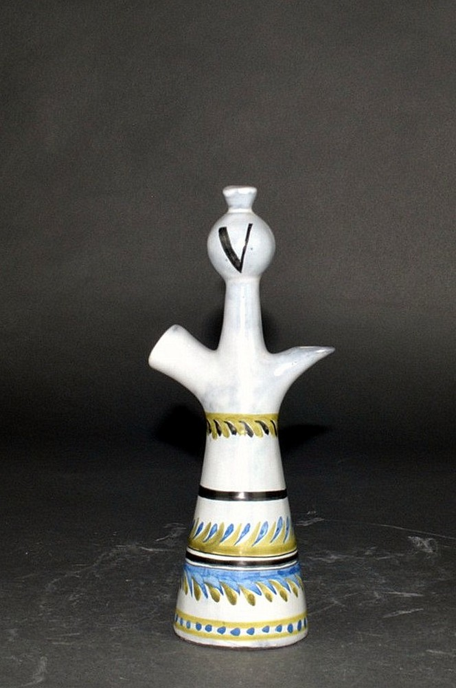 Small Ceramic Decanter 'v' By Roger Capron