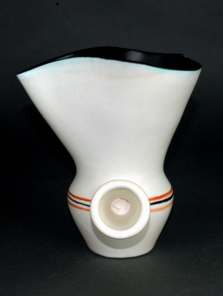 White Ceramic Chocolate Saucer With Black Rim By Roger Capron 8
