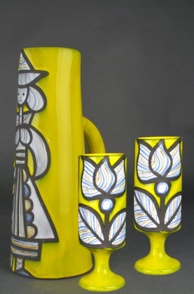 Yellow Ceramic Pitcher With Cups By Roger Capron 28